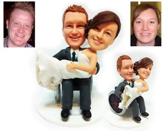 Personalised wedding cake topper - man on the wheelchair (Free shipping)