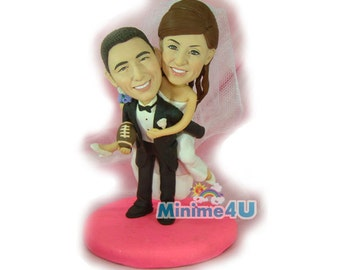 happy couple handmade custom wedding cake topper  (Free Shipping Worldwide)