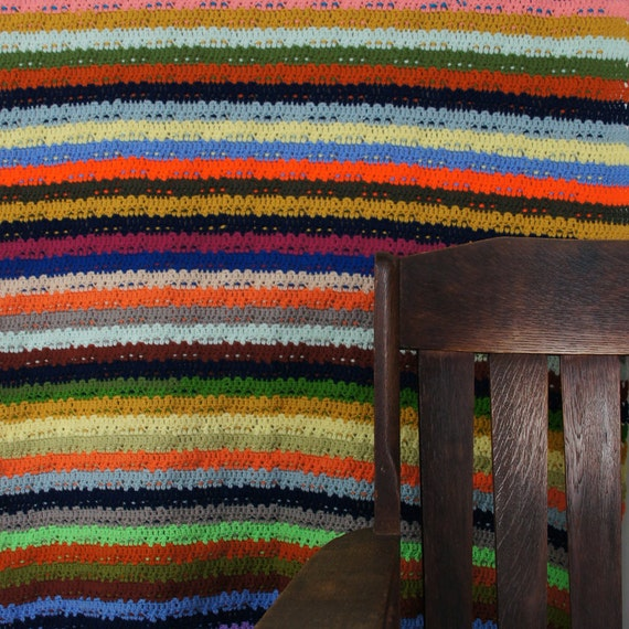 60s Hand Knit Afghan Throw / Multi Color / Twenty One by ...