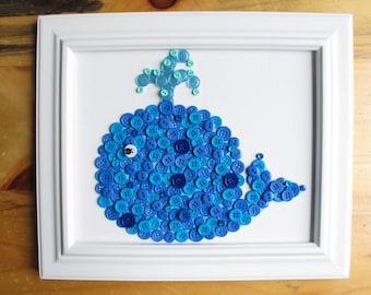 Button Art, Animal, Whale, Blue, Canvas Panel, 8x10