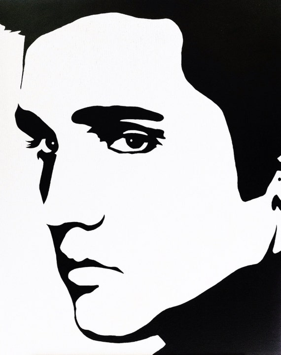 Items similar to Elvis Presley: Black & White Pop Art ...
