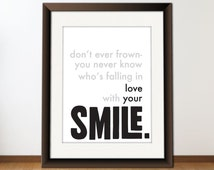 INSTANT Download, Digital Printable Typography Love Quote, Download And Print JPEG Image  -  Love Your Smile