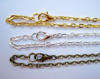 10pcs Brass 3x4mm Chain Necklaces with Lobster Clasps, 2 colors availablev: antique bronze, white gold