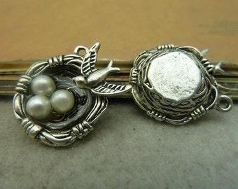 6pcs 7x20x25mm Antique Bronze / Antique Silver Bird Egg Nest Charms Pendants AC4676