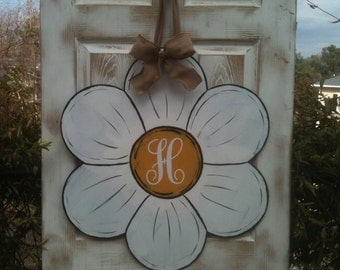 door decoration , shabby chic flower with monogrammed initial