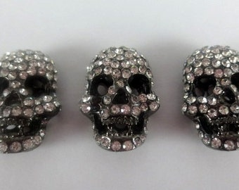 5 pcs Skull beads , Day Of The Dead Beads , Shamballa Skull  Bead ,  Halloween   Art And Craft Supplies  Crystal ( c326 )