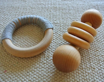 Montessori Infant Natural teether & Rattle with Organic Beeswax Finish