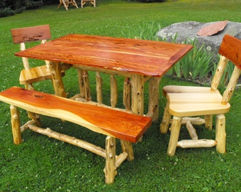 Red and White Cedar Table, Chairs and Bench