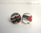 hand cut vintage book cover and sterling silver stud earrings black white and red - nocturneii