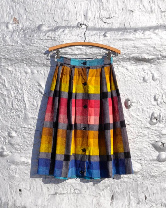 SALE 15% Off... Plus Free Shipping... 50's Checkered Cotton Skirt