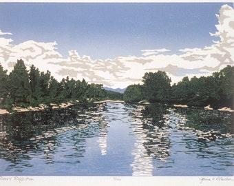 Rivers' Reflection   Woodblock print