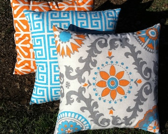 Orange and Teal pillow Set of Three Orange and Aqua Zippered Pillow Covers Blue and Orange Pillow Cover 20x20 Inches