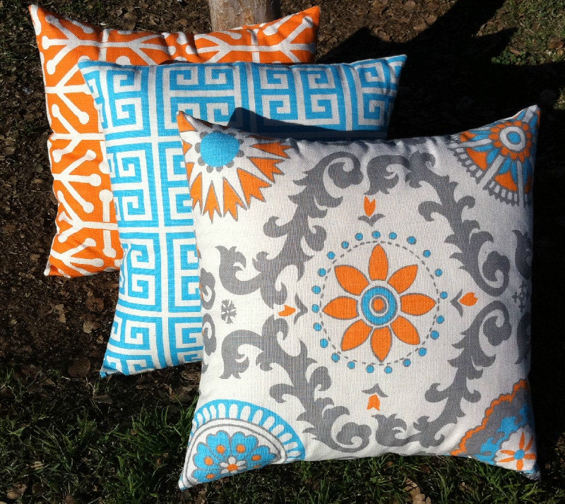 Teal And Orange Decorative Pillows : Orange and Teal pillow Set of Three Orange and Aqua Zippered