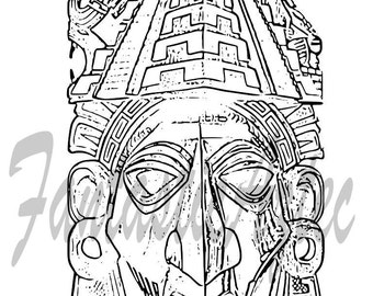 Popular items for mayan mask on etsy for Aztec mask template