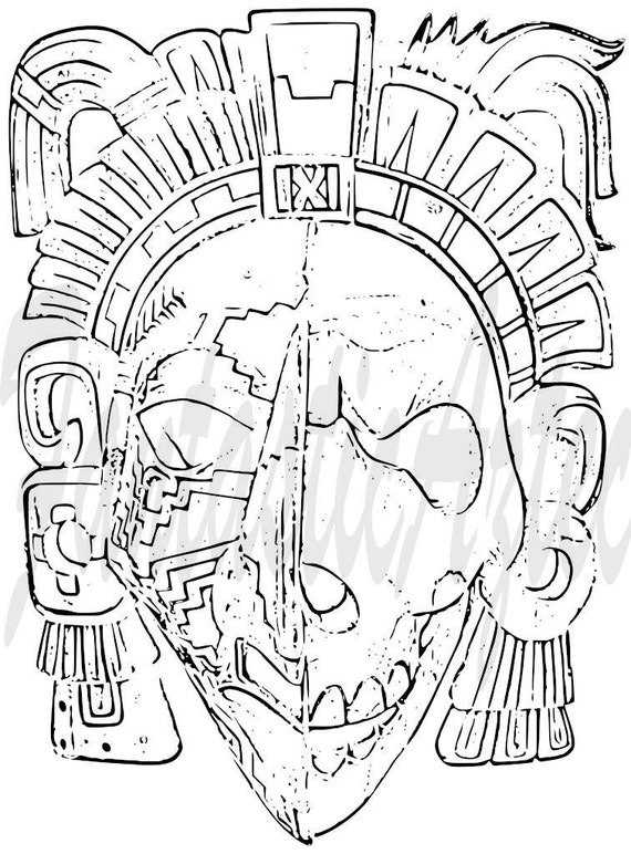 Life and death aztec tattoo template warrior by for Aztec mask template