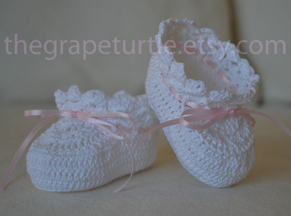Cotton Crochet Baby Shoes Pattern : Heirloom Crochet Baby Booties Baby Shoes Girl or Boy Baby