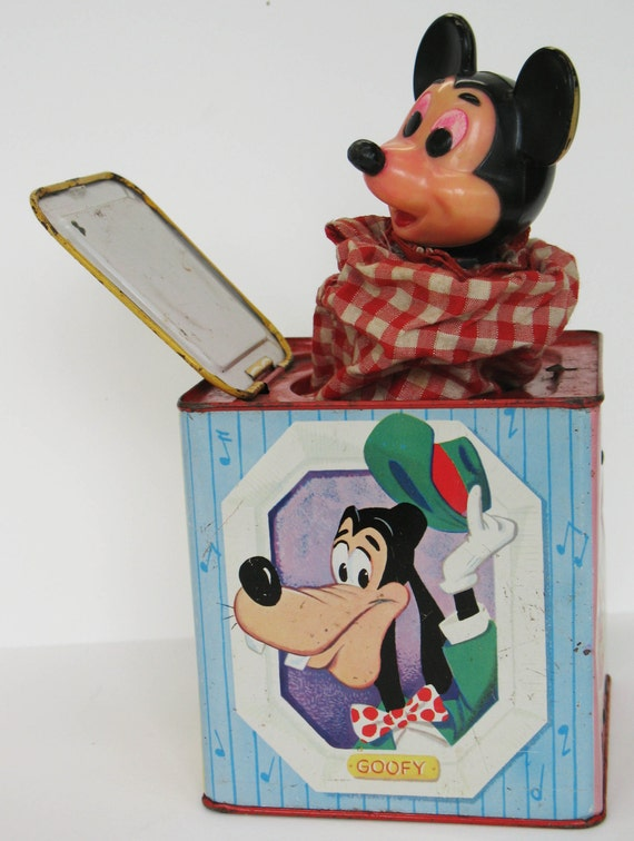 SALE Walt Disney Mickey Mouse Toy Jack in the Box Mattel Games Wind Up