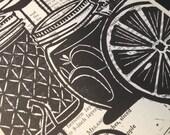 Block Print - Fruit and Mason Jar on Vintage Cookbook Page, mounted on backer board - Buy 3 Get 1