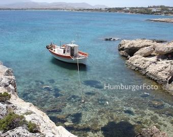 Paros Boat.  Travel photography, Paros, Greece, boat photography, landscape photo, small boat, fishing boat