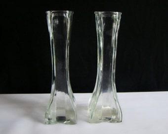 Vintage 1986 Profile Europa Square Glass Flower Bud Vases