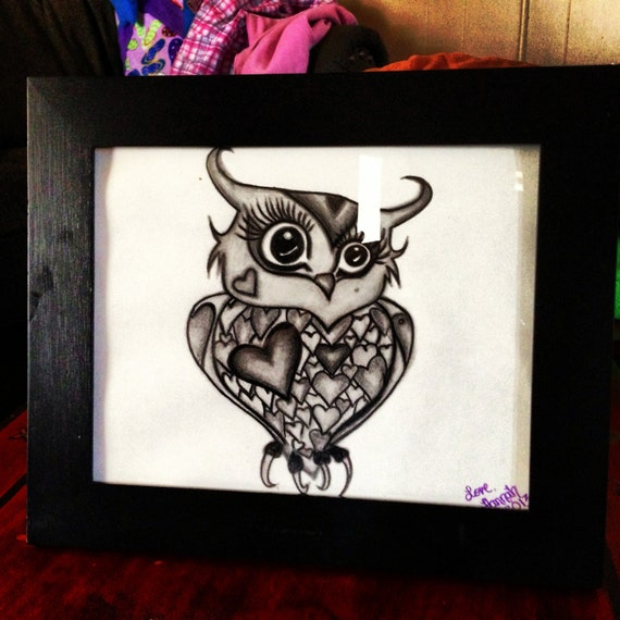 items similar to owl cute hearts girly drawing pencil