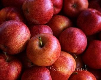 Fresh Juicy Okanagan Apples Print, Red Wall Art, Fruit Photo 8x10