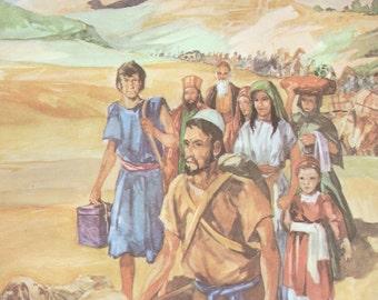 Vintage Bible Illustration - Jerusalem pilgrimage - Old Testament - Paper ephemera