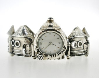 Handcrafted 925 Sterling Silver Watch, Unique Design by Poran, Artistic Jewelry, Made In Israel