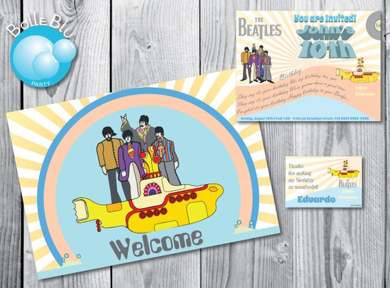 decoracao festa infantil yellow submarine:Beatles Yellow Submarine Birthday Party Invitations