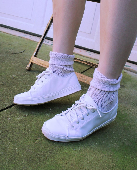 White Lace Up Keds Sneakers