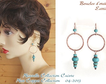 Copper and turquoise Magnesite earrings / Boucles cuivre et Magnésite turquoise