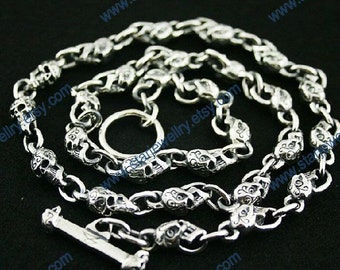 Steampunk Classical Carving Skulls chain necklace---925sterling silver necklace