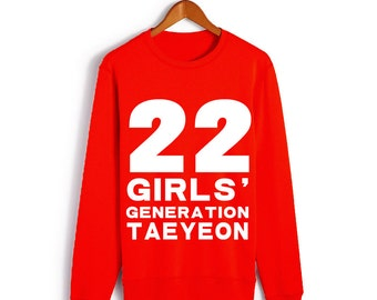 Girls' Generation snsd Red Taeyeon NO.22 Long-sleeved T-shirt S-2XL (Ds1)