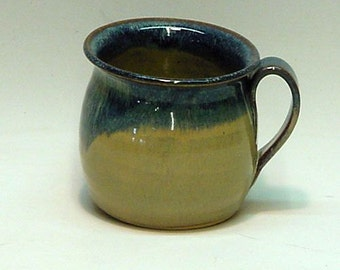 Pottery Soup Bowl /  Blueberry &  Tan / Ceramic Soup Mug / Ceramic Pottery Bowl , Pottery Mug , Ceramic Mug , Ceramic Bowl ,Handmade Pottery