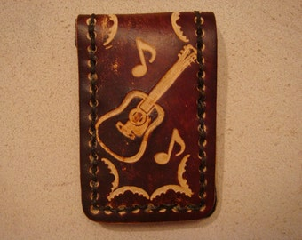Tooled Brown Leather Magnetic Money Clip - Guitar