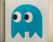 Blue Pacman Ghost - Oil canvas painting!