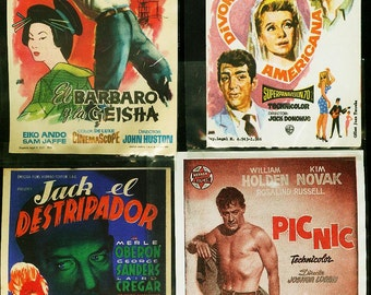 1940s to 1960s 15 pcs of Spanish Movie Handbills Original and suitable for framing