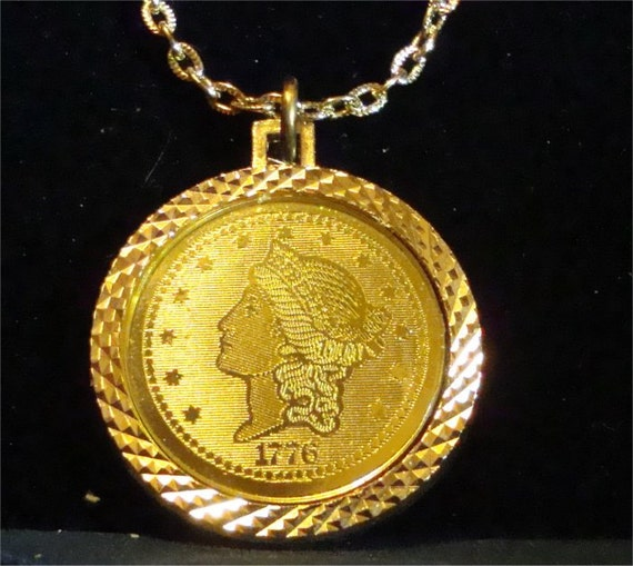 vintage 1776 faux 20 dollar gold coin pendant on chain