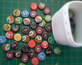 Destash 100  Bottle caps from various microbrews ciders various beer bottlecaps upcycle