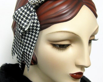 Houndstooth Bow Fascinator with Rhinestones