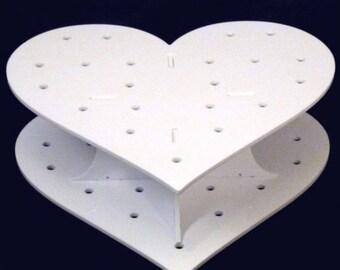 Heart Shaped White Acrylic Cake Pop Stand - 15 Holes