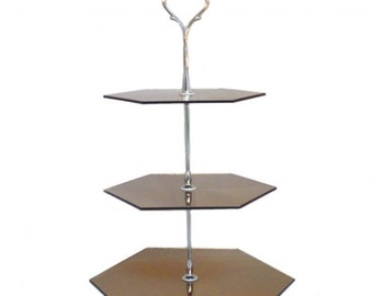 """Three Tier Mirror Hexagon Cake Stand in Various Colours - Base 30cm/12"""""""