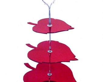 Three Tier Red Mirror Leaf Cake Stand - 2 Sizes Available