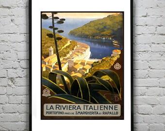1920's Italian Riviera Italy Travel poster Art Print Poster Vintage Image Italy