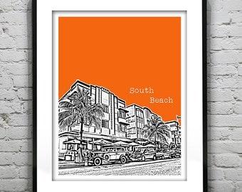 South Beach Skyline Poster Miami Art Print Florida Biscayne Bay