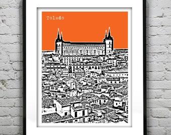 Toledo Spain Poster Alcazar of Toledo Art Print Skyline