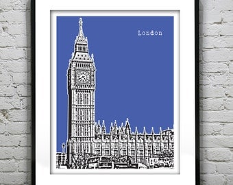 London Poster Art Print Big Ben Britain England Version 7