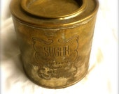 "Solid brass, lidded Cuban Sugar  tin, with the inscription: ""The Finest Quality of Cuban Sugar"" 1900's"