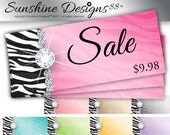 Jewelry Hang Tag Gift Price Zebra DIY Printing Digital Instant Download