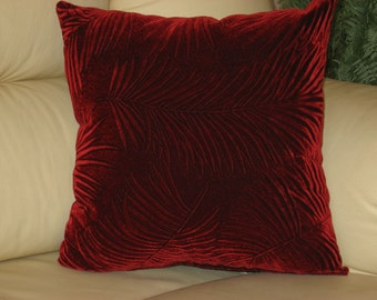 "Burgundy - dark red - velvet - handmade - throw pillow - cushion - cover - 45 cm x 45 cm (18"" x 18"")"